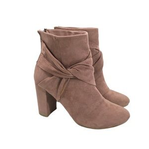 Report Mauve Faux Suede Heeled Ankle Booties